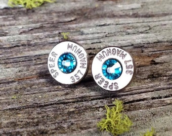Aquamarine Bullet Earrings - March Birthstone Earrings - Swarovski Crystals - Surgical Steel Posts - Bullet Jewelry - Turquoise