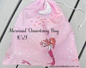 Drawstring Project Bag - Pink Mermaids
