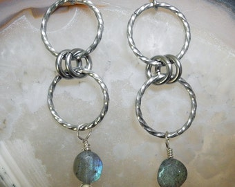 Labradorite Bead Earrings, Labradorite Drop Earrings, Twisted Stainless Steel Hoops, Surgical Steel Ear Wires, Mystical Moon Designs