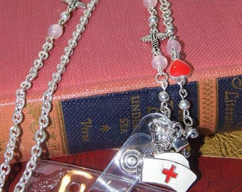 NURSE hat Silver Necklace Badge Reel retractable ID Key Card Glasses Holder Crystal