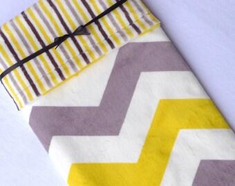 Baby Blanket, Minky Baby Blanket, Yellow and Gray Baby Blanket, Chevron Baby Blanket, Stripe Minky Baby Blanket