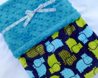 Minky Baby Blanket - Hippo Baby Blanket - Boy Minky Baby Blanket - Blue and Green Blanket - Baby Blanket - Boy Baby Blanket - Baby Boy