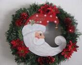 Santa Wreath, pine wreath, Christmas, handpainted, pinecones, poinsettas