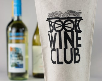 Wine Tote - Recycled Cotton Canvas  - Book Club
