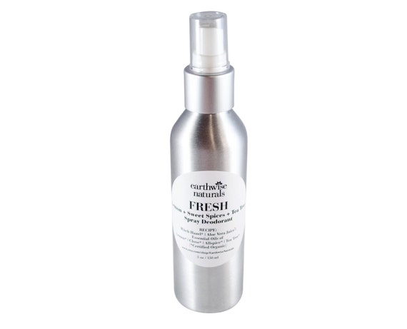 FRESH Lemon Spice Deodorant Spray with Aloe & Tea Tree - Organic - Vegan - Aluminum Free - With Bacteria and Odor Fighting Essential Oils