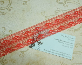 1 yard of 1 1/2 inch Red Chantilly lace trim for bridal, baby, valentines, christmas, wedding, altered couture  by MarlenesAttic - Item KK9