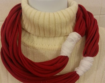 Simple Recycled T Shirt Scarf Red and White
