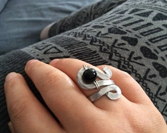 adjustable aluminium ring with black glass bead handblown by me