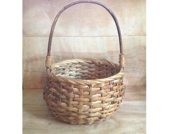 Vintage Wood Straw Basket