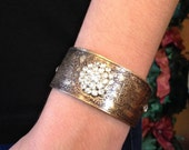 Etched Metal and Leather Cuff Bracelet with Rhinestone Embellishment