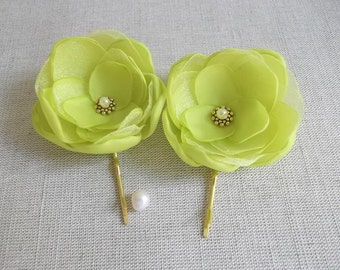 Yellow lime lemon green small fabric flowers handmade Bridesmaids Bridal hair shoe Clip dress sash brooch Flower girls gift Gold bobby pins