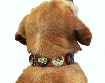 Custom Handmade Soda Pop Cap Leather Dog Collar with Riveted Brass Information Tag
