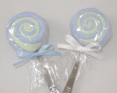 2 Blue and Green Washcloth Lollipops Baby Boy Gift Ideas
