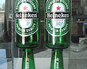 Unique Gift - A pair (2) of Heineken Beer Bottle drinking Goblets