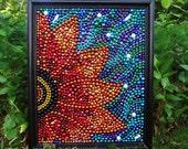 Mardi Gras bead art mosaic, orange, yellow, blue, purple, whimsical, New Orleans, mosaic, collage, custom. bead art, bayouland beads