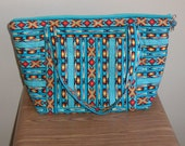 Quilted Purse, Fashionable Large Turquoise Aztec Print Quilted Purse