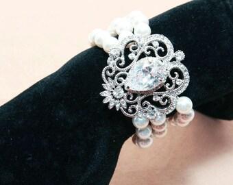 Rows Wedding Bridal Rhinestone Crystals Swaovski / Freshwater Pearl Bracelet Bangle