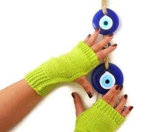 FINGERLES Neon Green Fingerless Gloves,Wool Mittens,Arm Warmers ,Hand Knitted, Eco Friendly ,Winter Accessories