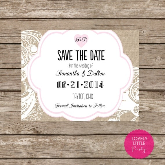 Burlap&Lace SAVE THE DATE Postcard Optional - diy Printable - Lovely Little Party