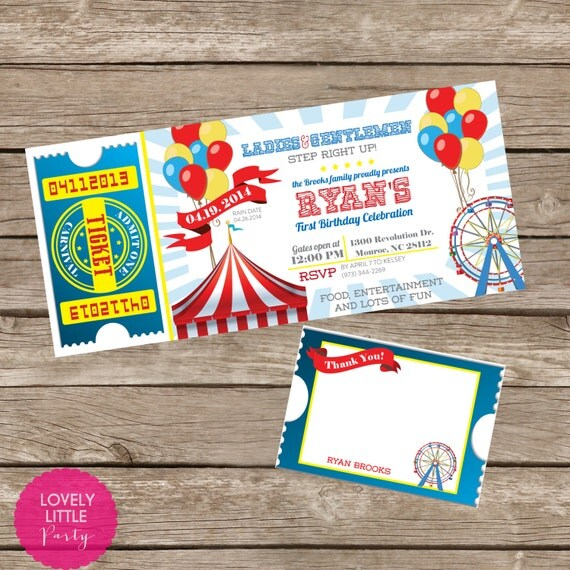 DIY Printable Carnival Birthday Invitation Kit - Invite AND Thank You Card included