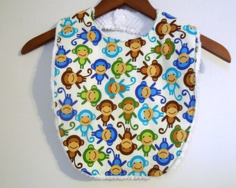Monkey Toddler Bib - Urban Zoologie Monkeys Blue Green Brown