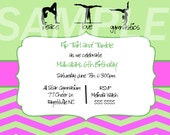 Green and Pink Gymnastics Birthday Invitation