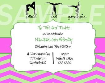 Green and Pink Gymnastics Birthday Invitation