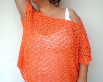 Orange Star Lace Sweater  Hand Knit    Woman Trendy Lace sweater Fall Woman Spring/Summer Collection NEW