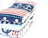 FREE SHIPPING Oversized Baby Burp Cloths in Nautical Sailing by JuteBaby