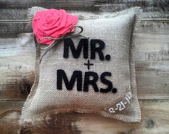 "10"" x 10"" Mr. + Mrs. Natural Burlap Ring Bearer Pillow w/ Large Rosette-CUSTOM COLORS Available-Personalize With Wedding Date-Rustic"