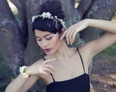 Celina: Bridal floral crown in ivory and pink with cherry blossoms, berries and leaves