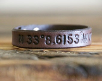 Single Latitude and Longitude Leather Bracelet- Coordinates- Unisex- Mens- Womens- Anniversary- Birthplace- Wedding