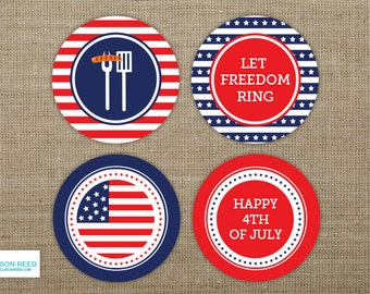 4th of July Printable - Printable Party - cupcake toppers - Party logos - BBQ Party - Independence Day - Patriotic - Red White And Blue