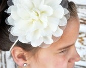 Big Beautiful Tulle Embellished Puff Flower Headband You Pick the Color