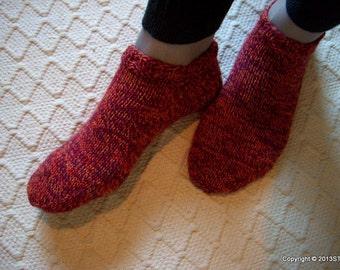 Jenn -Womens/ Girls slipper socks/ Warm cosy wool socks/ slippers Handknitted warm cosy Gift idea, Red, machine washable Handmade in FINLAND