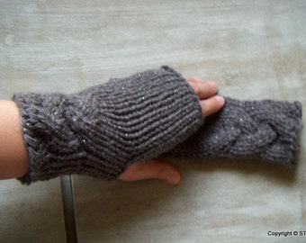 Gloria -Womens fingerless Hand warmers wrist warmers arm warmers Stylish hand knit gloves Half mitts Pattern wool gloves Gift idea for her