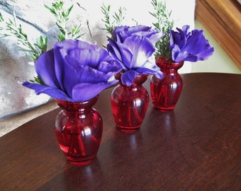 3 Miniature Cranberry Vases, Lot Red Glass Vases, Lot of Three, Matching, Table Setting, Valentine's Day, Holiday
