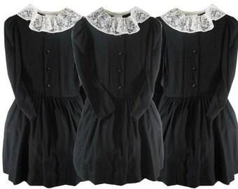 Yves Saint Laurent/ YSL/ Haute Couture/ Wednesday Addams/ YSL Dress/ Couture Dress/ Schoolgirl Dress/ Goth Dress/ Little Black Dress