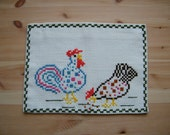 Vintage Swedish Wall Hanging Nursery Decoration Easter - Hand Cross Stitch - Rustic Interior Rural - Hen Chicken Cock- Tradition Art