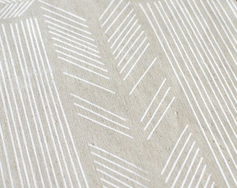 Biased in Alabaster White : hemp / organic cotton handprinted fabric panel