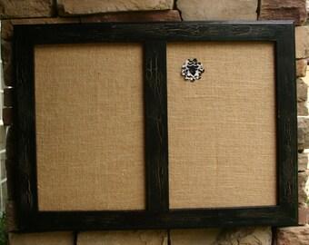 "30x22"" Black Vintage Style Frame Double Cork board"