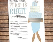 Unique Baby Shower Games, Price is Right Baby Shower Game, PRINTABLE for Boy, Dark and Light Skin, INSTANT DOWNLOAD