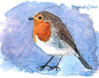 ACEO Limited Edition 2/25- ~Bird Made Cold~ in watercolor