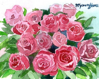 ACEO Limited Editions 2/25- Roses, in watercolor.