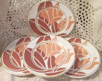 "Vintage Syracuse China Restaurant Ware Stenciled Rose Design 8"" Plates, Lot of 4"
