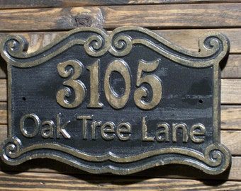 Wood Address Sign Antique Brass Finished Victorian Sign Double Scroll Wood Custom Carved Plaque