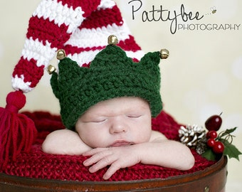 Long Tailed Elf Hat / Christmas Prop / Christmas Elf Hat / Newborn Christmas Hat / Baby's First Christmas Hat / Baby Elf Hat /