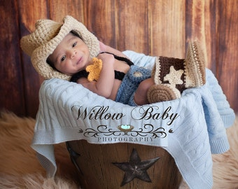 Cowboy/Cowgirl Photography 3 Pce. set - Handmade Crochet Cowboy Hat, Diaper Cover and Boots Newborn to 12 Mos