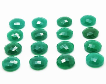 GCF-1025 - Green Onyx Faceted Cabochon - Gemstone Cabochon - Round 16mm - AA Quality - 1 Pc
