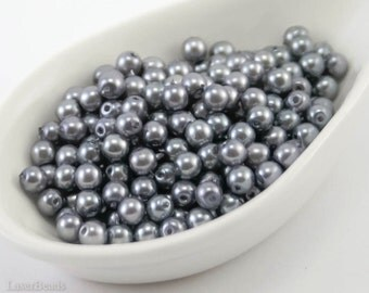 4mm Slate Gray Pearl Beads (50) Czech Small Glass Thin Pressed Round Druk Opaque Spacers